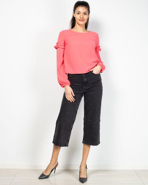 Jeans trei sferturi  drepti cu buzunare