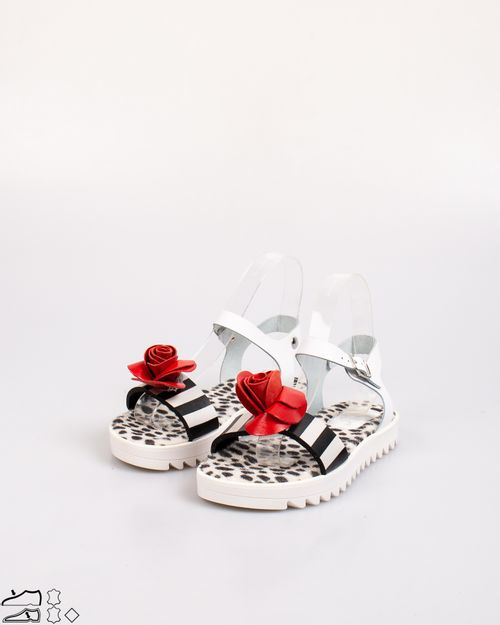 Sandale Sonia C. din piele naturala cu dungi si detaliu aplicat 2103601788