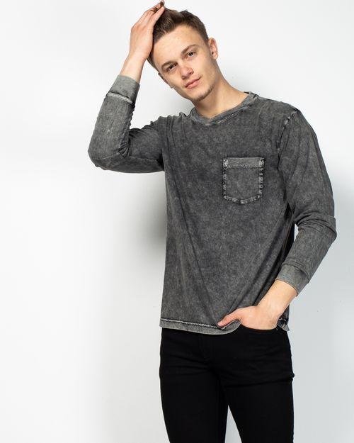 Bluza din bumbac cu maneca lunga si aspect prespalat  2107003009