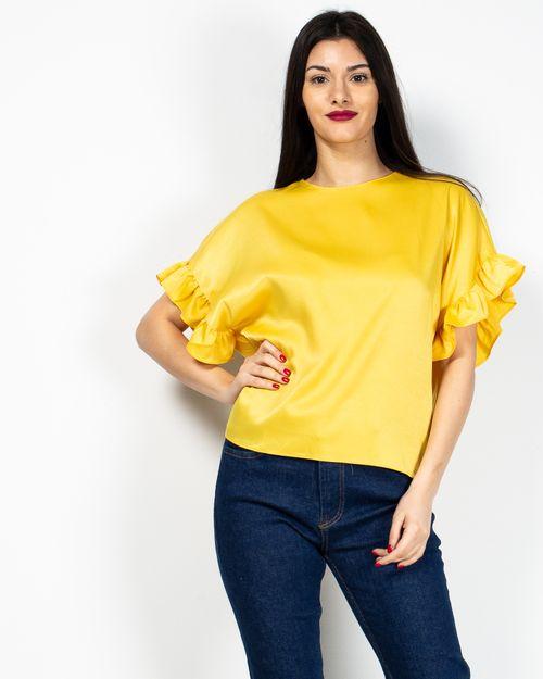 Bluza uni cu volane la maneci 2017101192