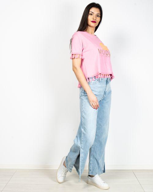 Jeans cu talie inalta si fante laterale 2104501023