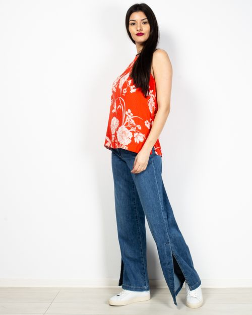 Jeans din amestec de bumbac cu fante laterale 2104501042