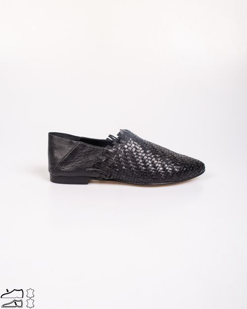 Pantofi din piele naturala usori cu model impletit N903935003