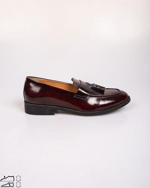 Pantofi din piele naturala lacuiti cu detaliu aplicat N903939009