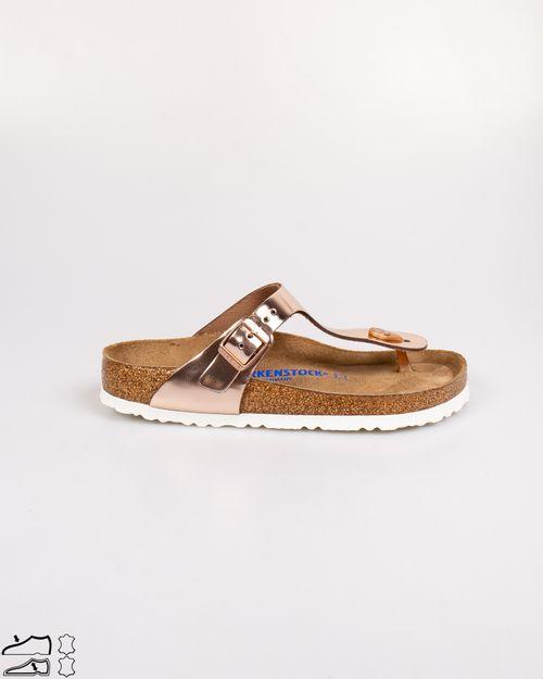 Papuci din piele naturala cu aspect metalizat 2104001005