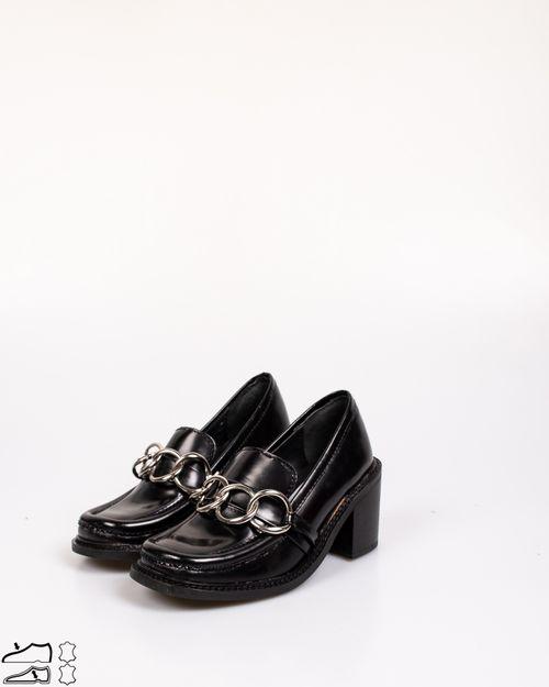 Pantofi din piele naturala cu detaliu aplicat si toc bloc N903703003
