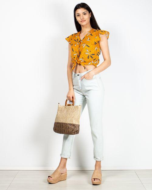 Jeans din bumbac cu fermoar metalic 2110601114