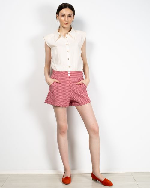 Pantaloni scurti in carouri cu buzunare laterale 2112502013