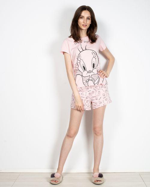 Pijamale din bumbac cu imprimeu si pantaloni scurti 2113002001