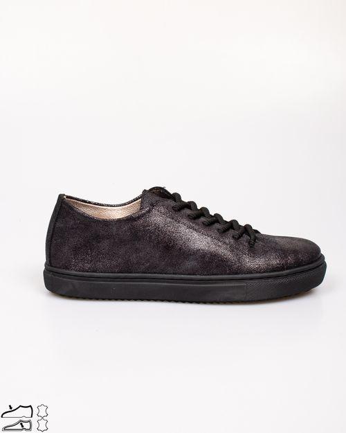 Pantofi din piele naturala cu siret si aspect metalizat 2113101004