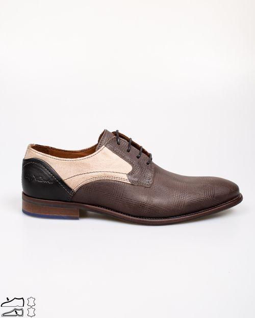 Pantofi din piele naturala cu siret si model texturat 2113202010