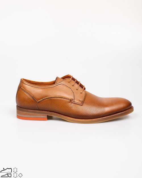 Pantofi din piele naturala cu siret si model texturat 2113202016