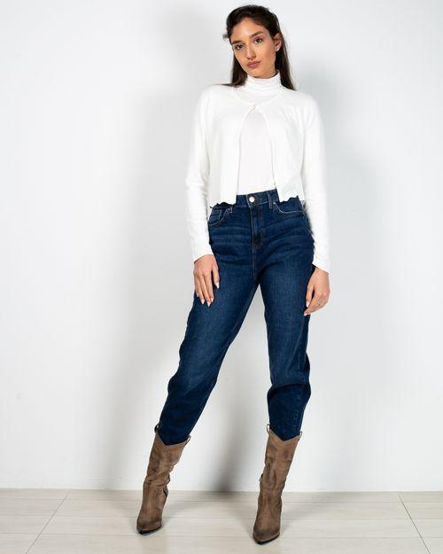 Jeans mom fit din bumbac cu buzunare si talie inalta 2118708005