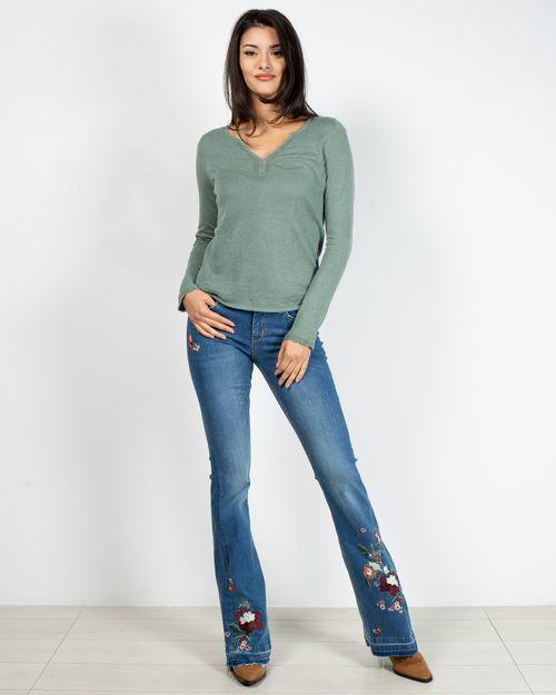 Jeans evazati cu talie joasa si model brodat 2118710004