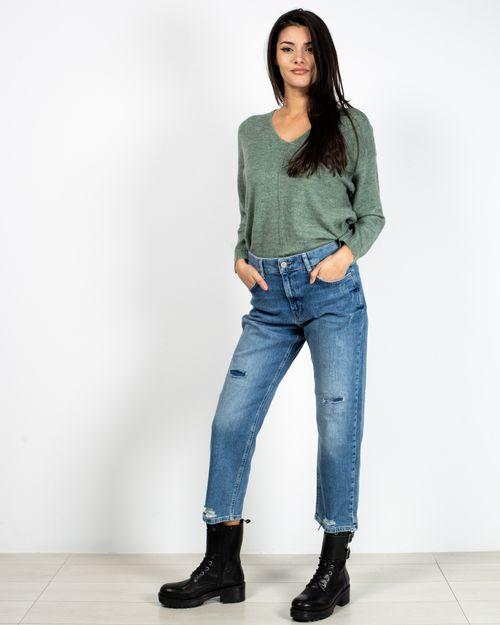 Jeans boyfriend din bumbac cu fermoar si buzunare 2118708001