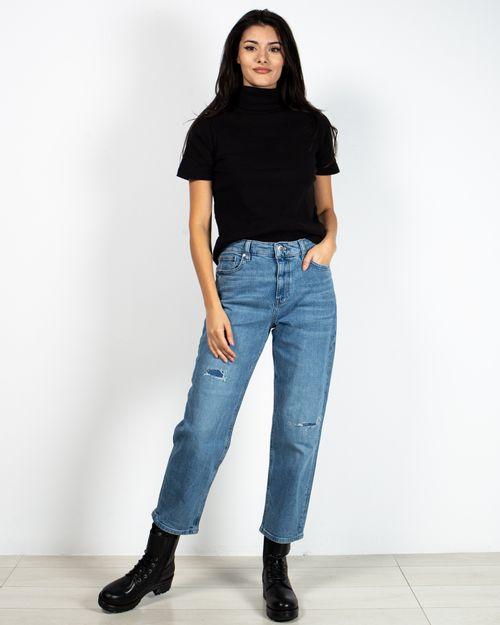 Jeans conici din bumbac cu fermoar metalic 2118715001