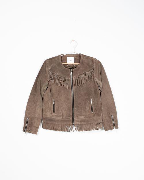 Jacheta captusita din piele naturala cu franjuri si buzunare N904544002