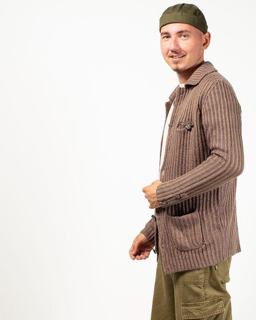 Cardigan tricotat cu buzunare aplicate