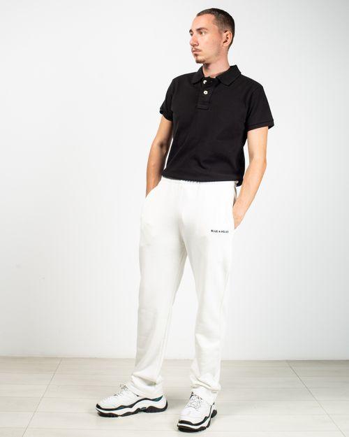 Pantaloni de trening din bumbac cu buzunare si talie inalta