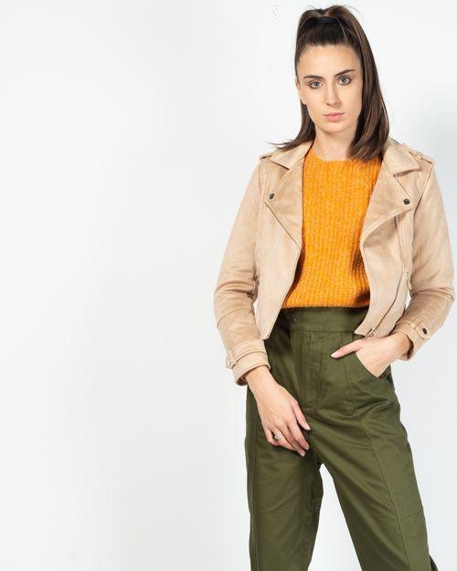 Jacheta scurta cu buzunare prevazute cu fermoar si guler
