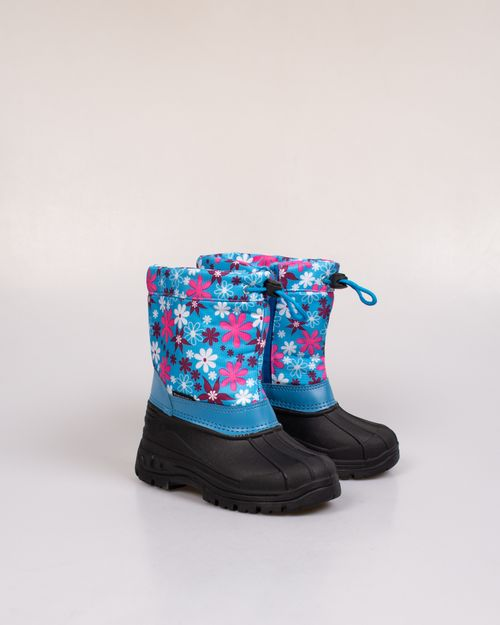 Cizme imblanite cu fermoar si imprimeu floral pentru copii 2023602028