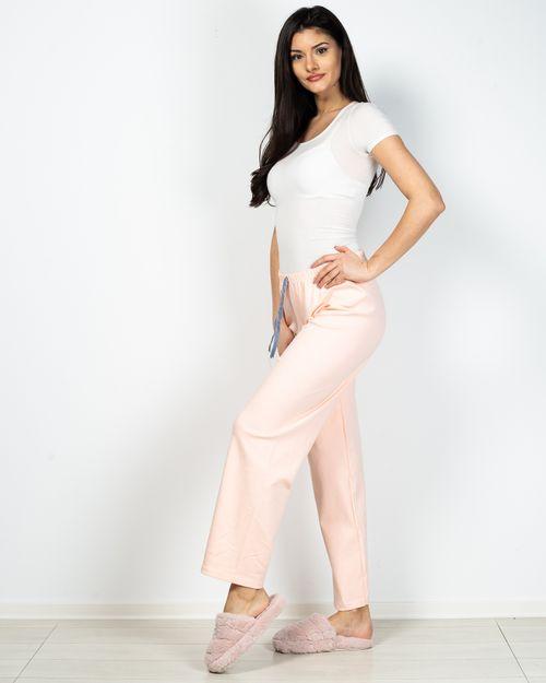 Pantaloni de pijama din bumbac cu talie elastica si funda
