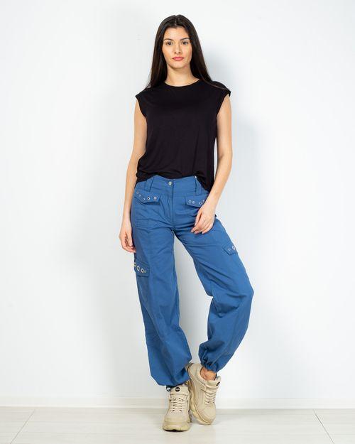 Pantaloni din bumbac cu fermoar si buzunare aplicate 2101901016