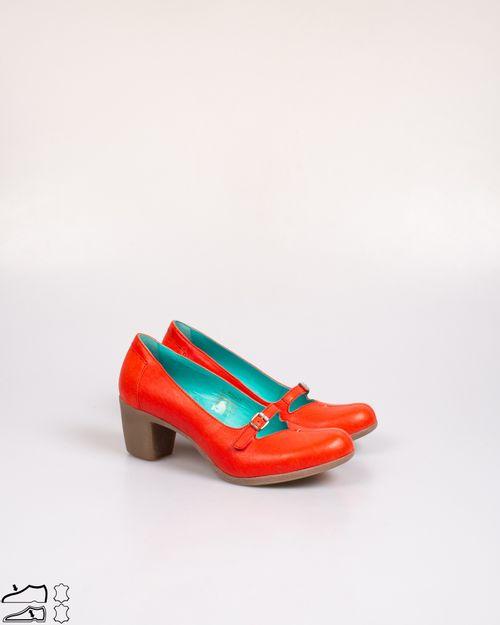 Pantofi Khrio din piele naturala cu toc bloc si varf rotund  2103601209